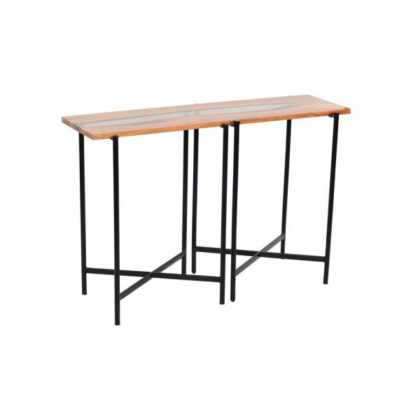 Rivers Edge 48 in. Brown/Black Standard Rectangle Wood Console Table