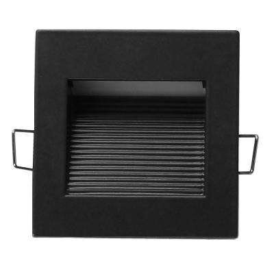 Square Black Indoor and Outdoor Integrated LED Landscape Step Light