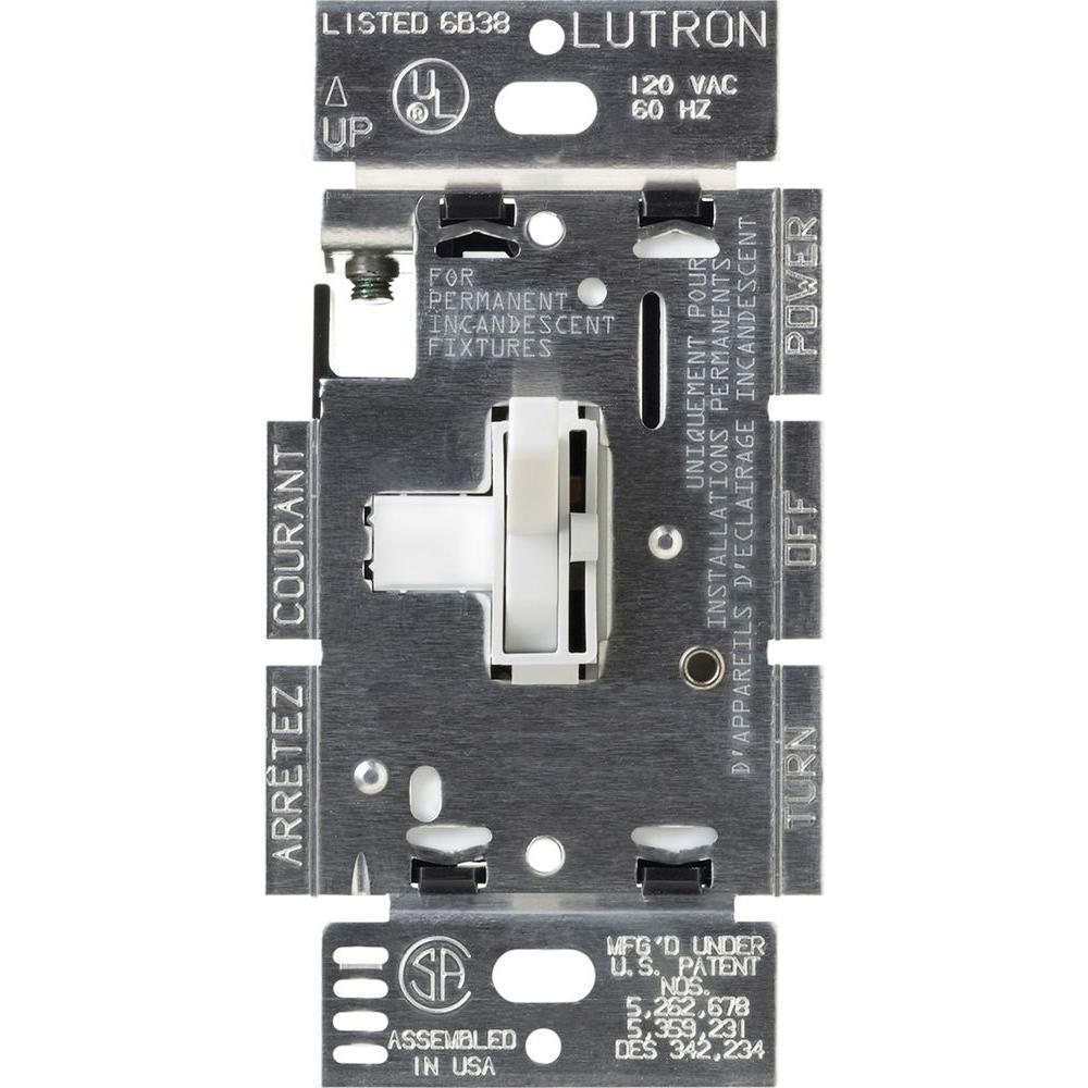 Lutron Toggler 1000-Watt Single-Pole Dimmer - White-TG-10PR-WH - The ...