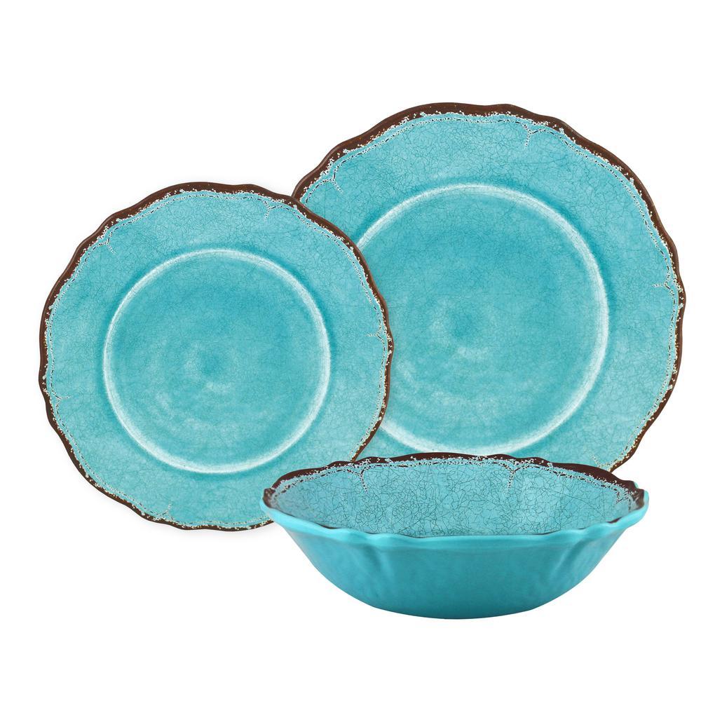 12-Piece Antiqua Turquoise Dinnerware Set