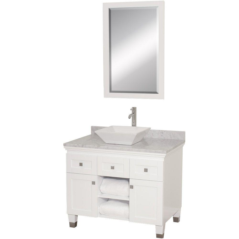 Wyndham Collection Premiere 36 In Vanity In White With Marble