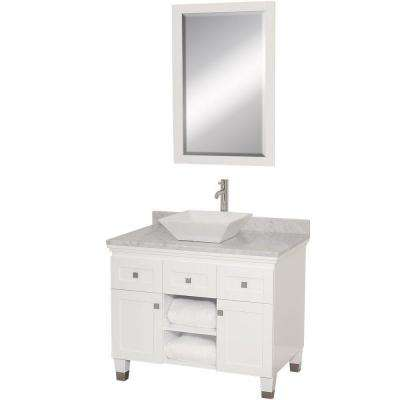 Premiere 36 in. Vanity in White with Marble Vanity Top in Carrara White with White Porcelain Sink and Mirror
