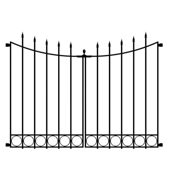 Beaumont No Dig 40.4 in. H x 53.7 in. W Black Steel Decorative Fence Gate