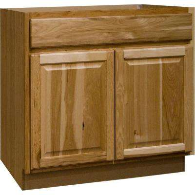 Hampton Assembled 36x34.5x24 in. Base Kitchen Cabinet with Ball-Bearing Drawer Glides in Natural Hickory