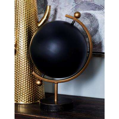 17 in. Decorative Globe with a Black Base
