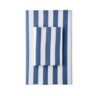 Awning Stripe Space Dyed Jersey Knit Fitted Sheet