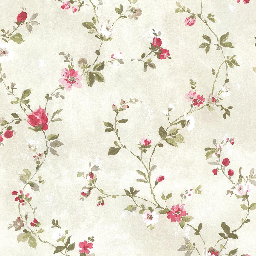 Brewster Sarafina Pink Floral Wallpaper Sample 2686-21640SAM