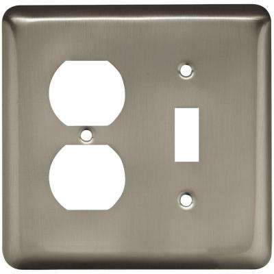 Stamped Round Decorative Switch and Duplex Outlet Cover, Satin Nickel