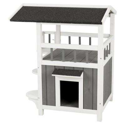 25 in. x 21.5 in. x 29.75 in. Pet Home with Shade in Gray/White