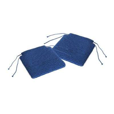 Franconia Boho Navy Blue Knitted Cotton Chair Pads (Set of 2)