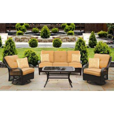 Hanover Orleans 4-Piece Steel Patio Conversation Set with Sahara Sand Cushions