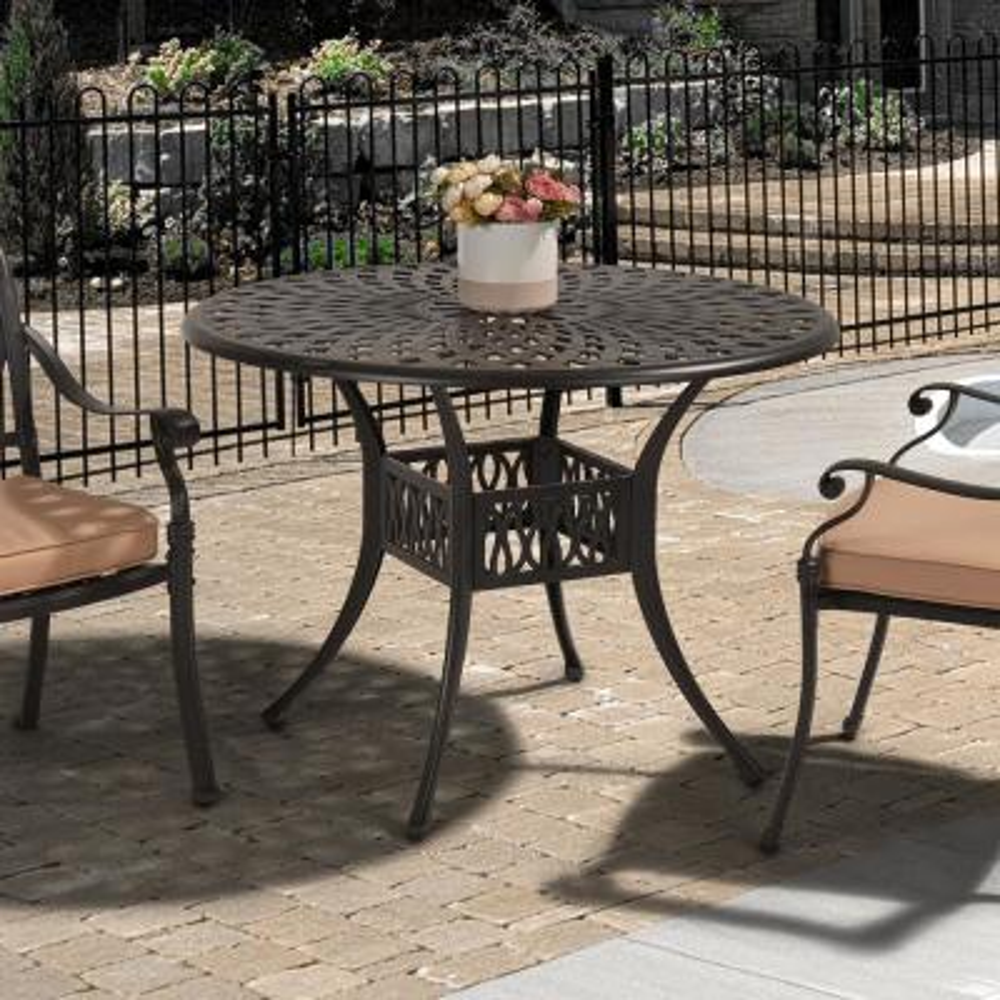 Classic Dark Brown Round Cast Aluminum Outdoor Dining Table