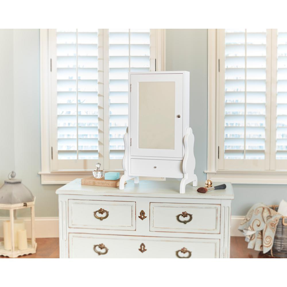 White Tabletop Mirror with Jewelry Storage