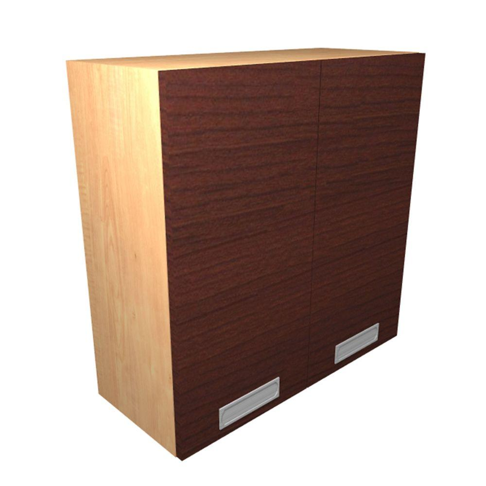 Wall Cabinet Frosted Pull Down Shelves Doors Cherry Red Cabinets