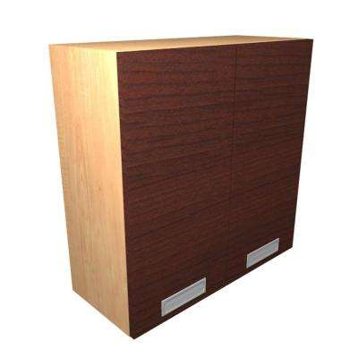 Genoa Ready to Assemble 24 x 38 x 12 in. Wall Cabinet with Frosted Pull-Down Shelves and 2 Soft Close Doors in Cherry
