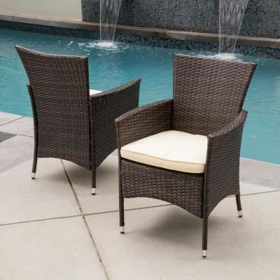 Malta Multibrown Removable Cushions Wicker Outdoor Dining Chair with Beige Cushions (2-Pack)