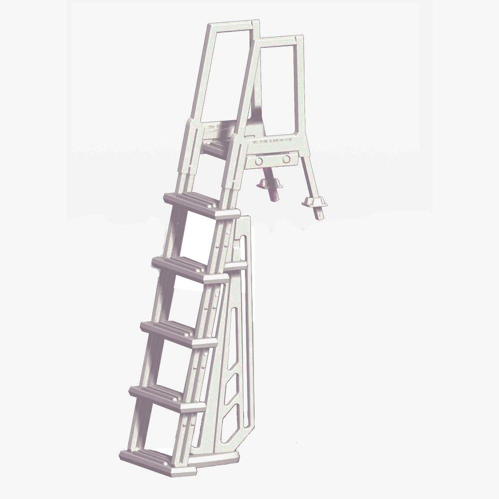 Blue wave heavy duty in pool white ladder for above ground pools ne1175 the home depot for Heavy duty swimming pool ladders