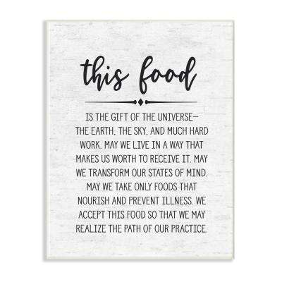 """10 in. x 15 in. """"This Food Prayer Subtle Birch Typography"""" by Artist Lettered and Lined Wood Wall Art"""