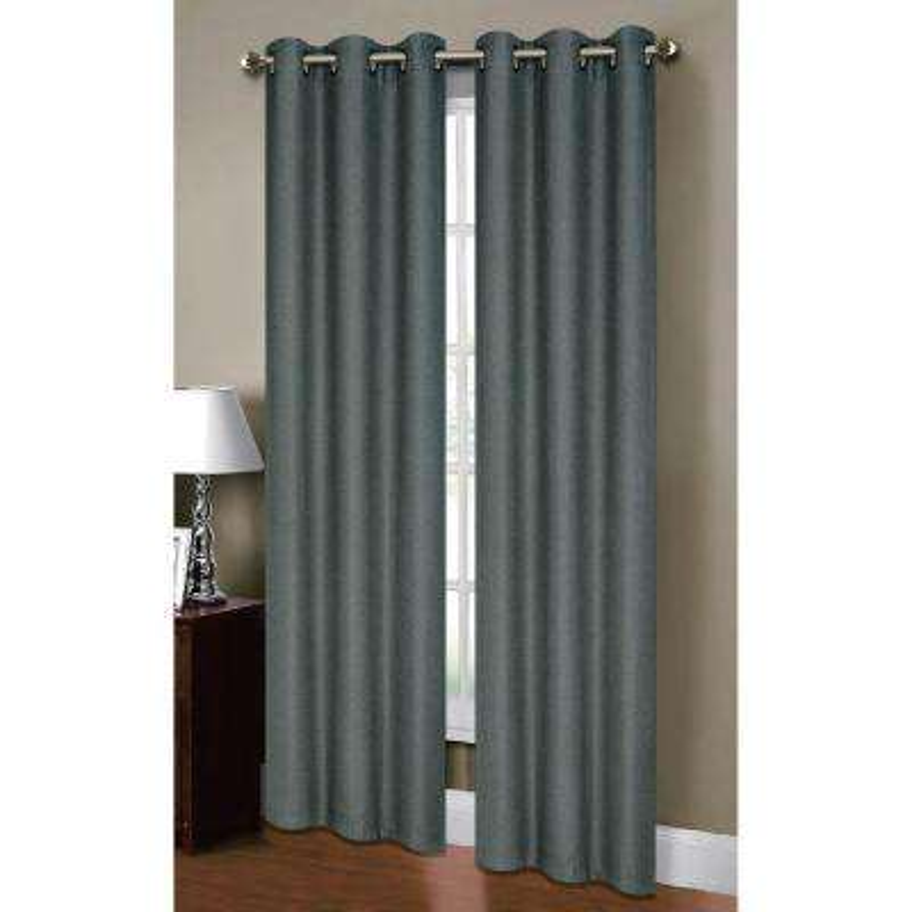 Semi-Opaque Henley Faux Linen 84 in. L Room Darkening Grommet Curtain Panel Pair, Dusty Blue (Set of 2)