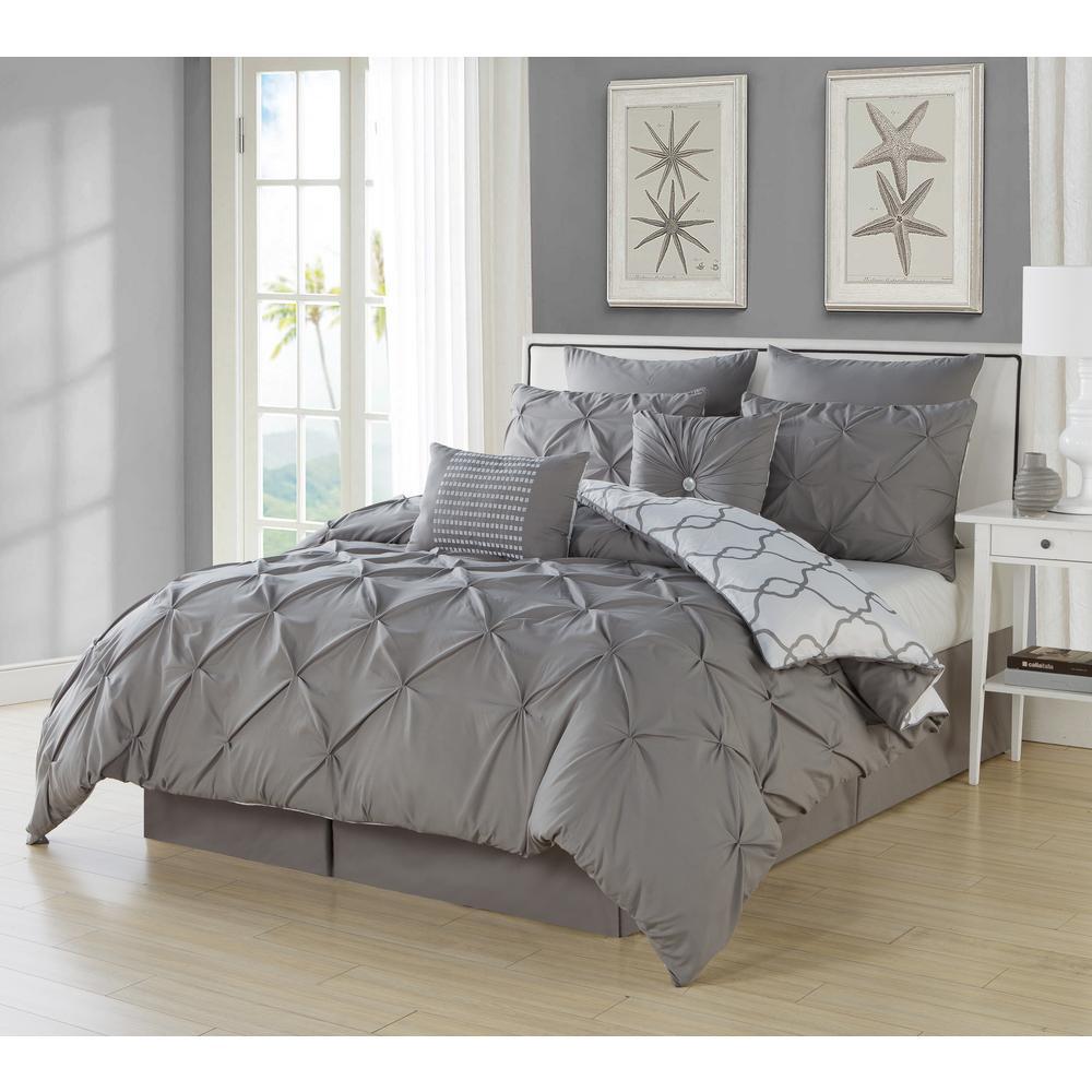 Esy Pintuck Reversible Grey 8-Piece King Comforter Set