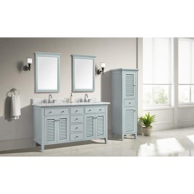 Fallworth 61 in. W x 22 in. D Bath Vanity in Light Green with Marble Vanity Top in Carrara White with White Basin