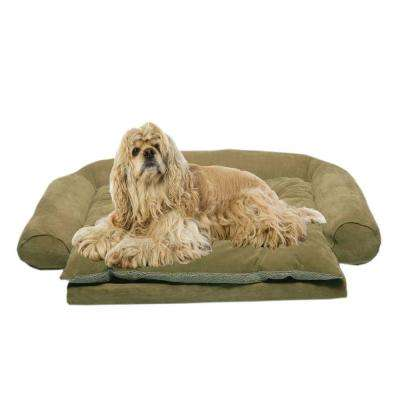 Medium Ortho Sleeper Comfort Couch Pet Bed with Removable Cushion - Sage