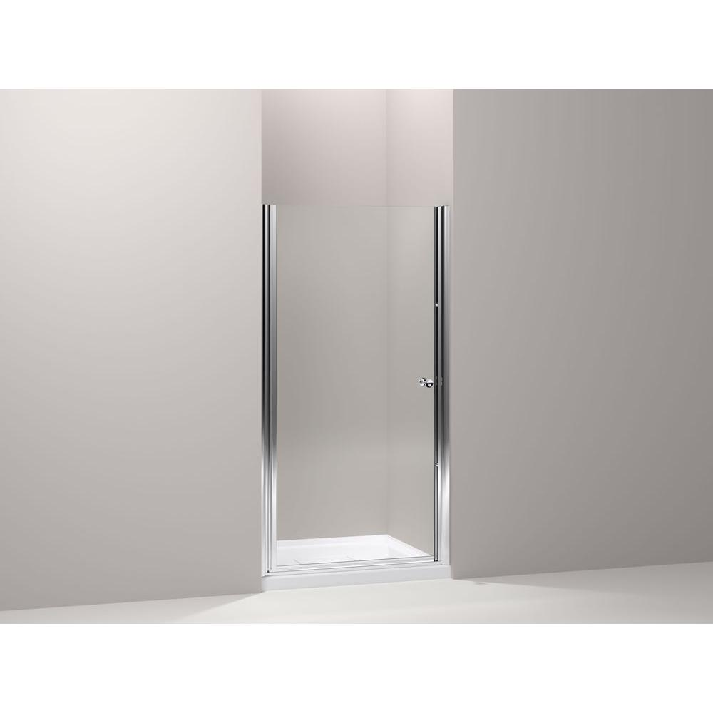 KOHLER Fluence 34 in. x 65-1/2 in. Semi-Frameless Pivot Shower Door in Bright-Silver with Crystal Clear Glass