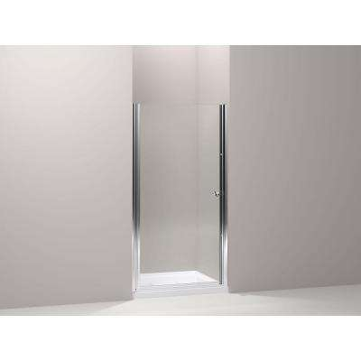 Fluence 34 in. x 65-1/2 in. Semi-Frameless Pivot Shower Door in Bright-Silver with Handle