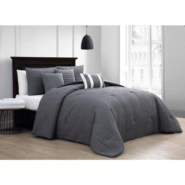 Addison House Yardley 10-Piece Embossed Gray Queen Comforter Set with Sheet Set