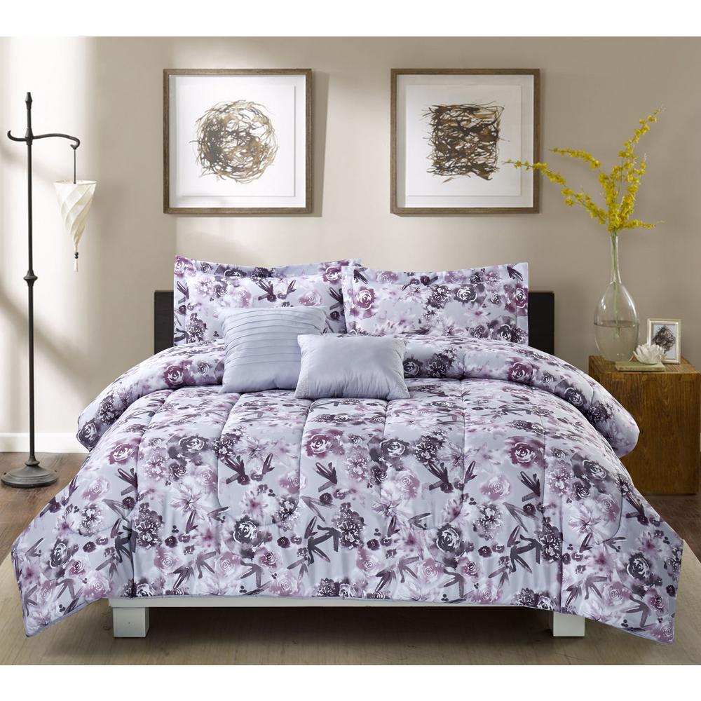 Dusty Dream 5-Piece Grey Full/Queen Comforter Set
