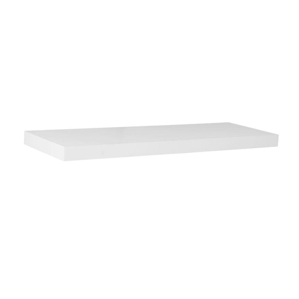 Unbranded 24 in. L x 7.75 in. W Slim Floating White Shelf