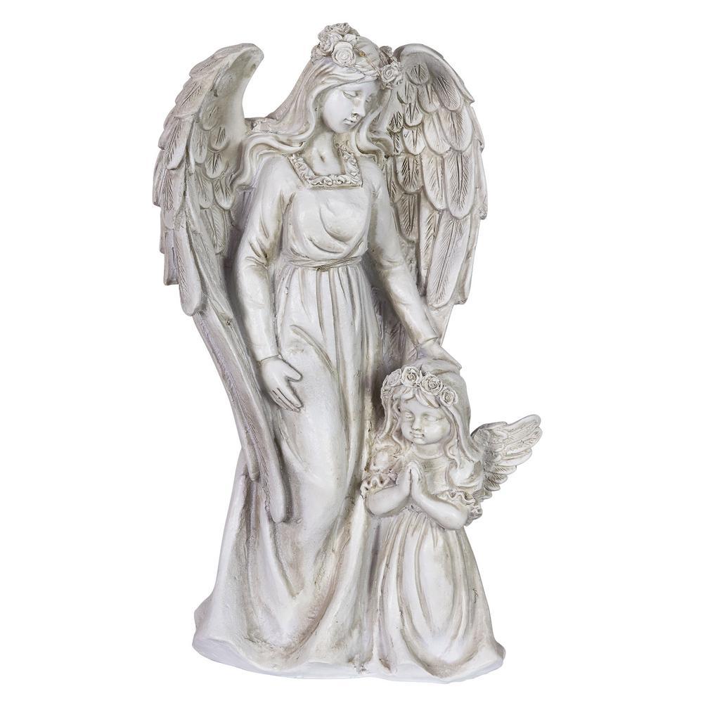 Solar Halo Angel with Girl Garden Statue