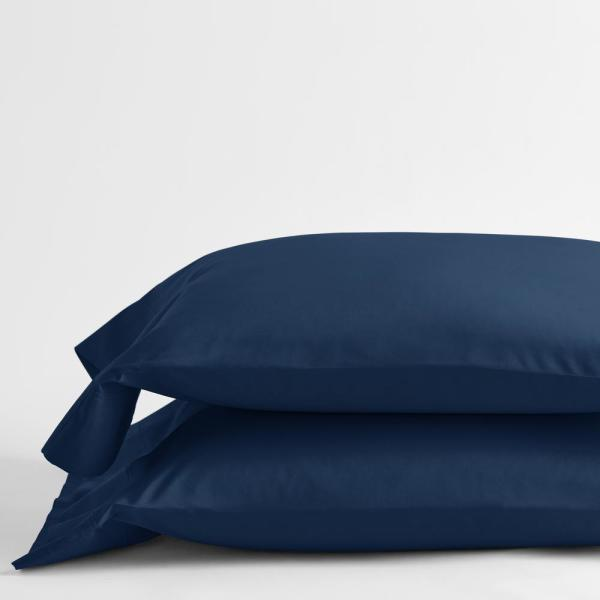 Navy Solid 400-Thread Count Supima Cotton Percale Standard Pillowcase (Set of 2)