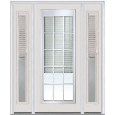 60 in. x 80 in. Internal Blinds and Grilles Left-Hand Full Lite Clear Fiberglass Smooth Prehung Front Door w/ Sidelites