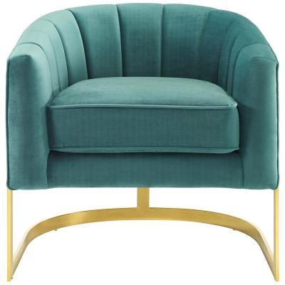 Esteem Teal Vertical Channel Tufted Performance Velvet Accent Armchair