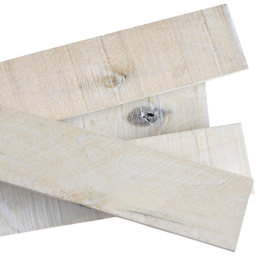 1/2 in. x 4 in. x 4 ft. White Wash Weathered Hardwood Board (8 ...