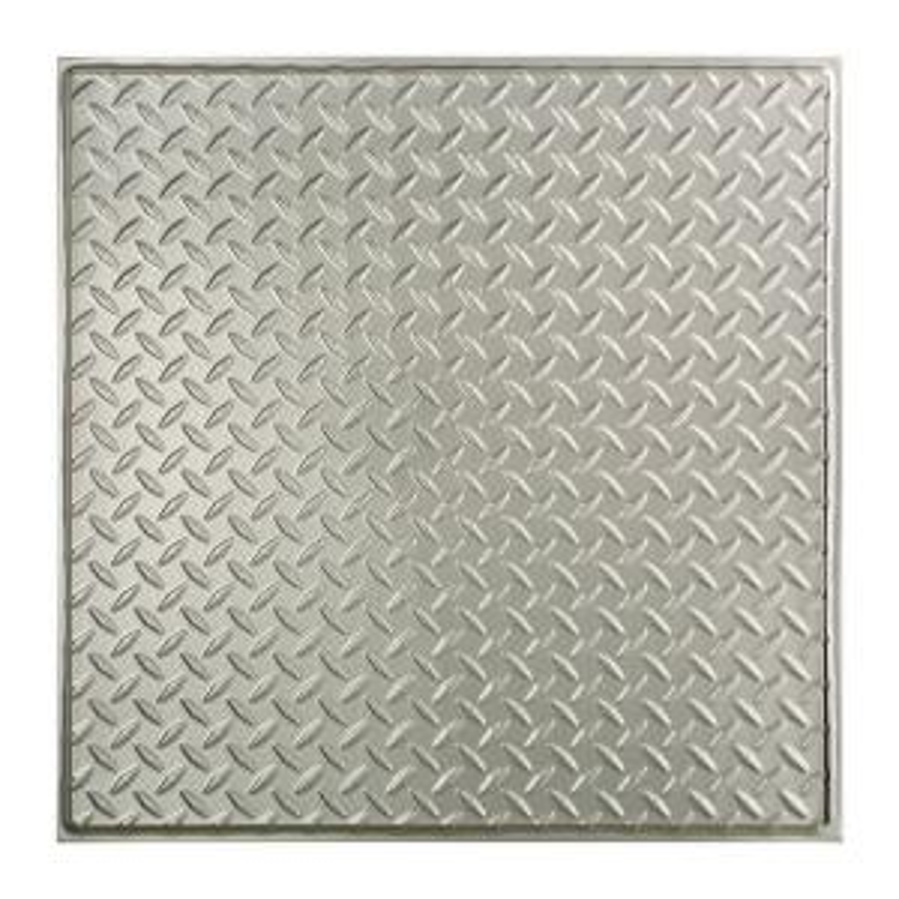 Diamond Plate - 2 ft. x 2 ft. Revealed Edge Vinyl Lay-In Ceiling Tile in Brushed Aluminum