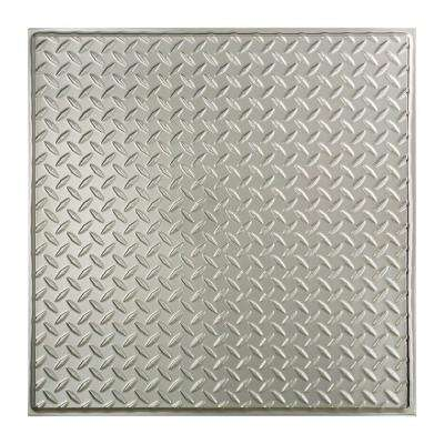 Diamond Plate - 2 ft. x 2 ft. Revealed Edge Lay-In Ceiling Tile in Brushed Aluminum