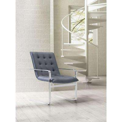 Solo Gray Leatherette Arm Chair (Set of 2)