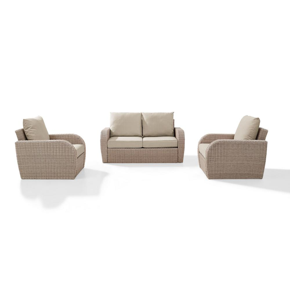 Crosley St Augustine 3-Piece Wicker Patio Outdoor Seating Set with Oatmeal Cushion - Loveseat, 2 Outdoor Chairs was $1238.42 now $996.42 (20.0% off)