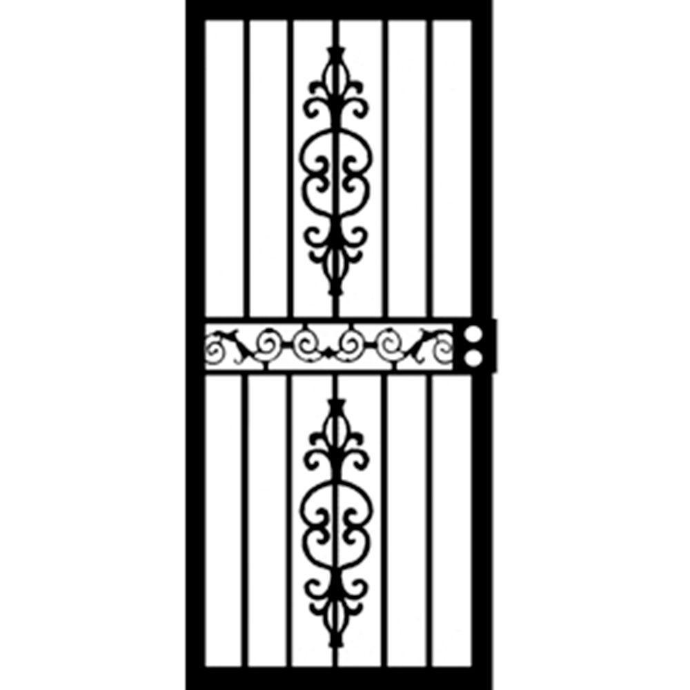 Grisham 34 in x 80 in 405 series black strike security for Home security doors