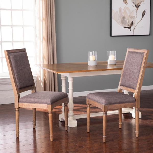 Barker Natural Wood and Gray 39 in. H Upholstered Dining Chairs (Set of 2)