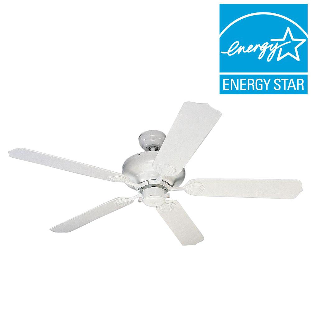 Sea Gull Lighting Long Beach 52 In. Outdoor White Ceiling Fan 1540 15   The  Home Depot