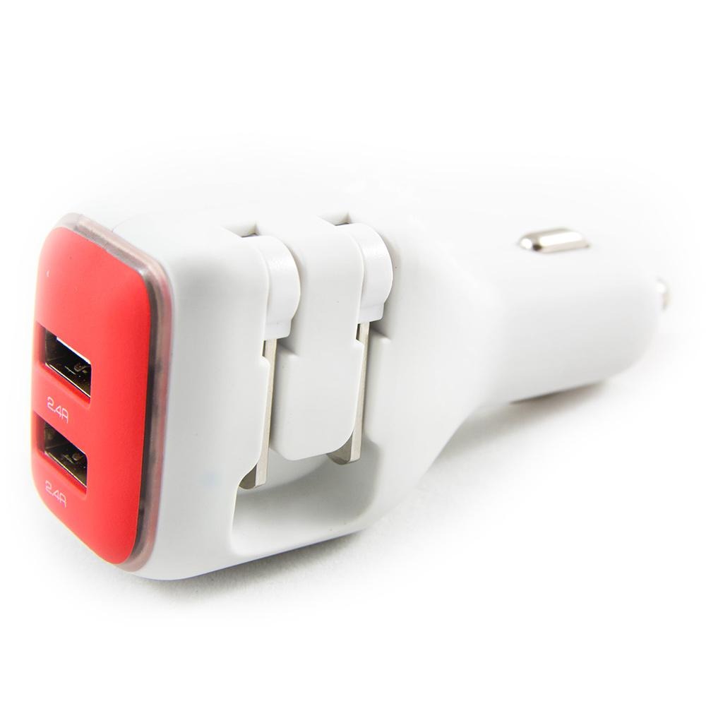 Dualx Dual Usb Charger For Car And Home Red