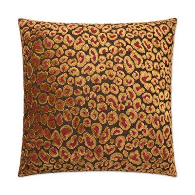 Cheetah Ruby Geometric Down 24 in. x 24 in. Throw Pillow
