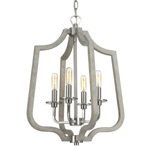 Glenora Collection 4-Light Brushed Nickel Pendant with Weathered Gray Wood Accents