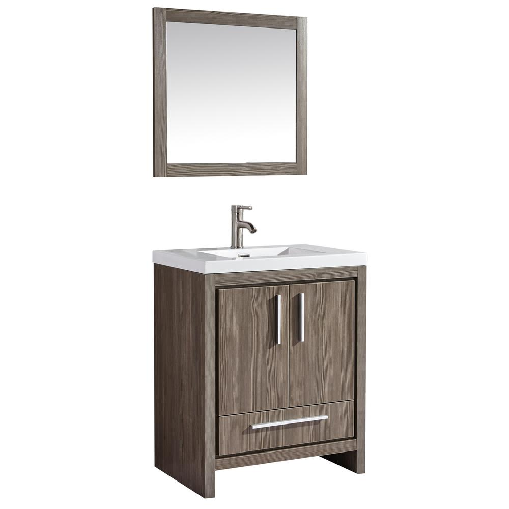 Admirable Miami 30 In W X 19 5 In D X 36 In H Vanity In Grey Pine With Acrylic Vanity Top In White With White Basin And Mirror Interior Design Ideas Inesswwsoteloinfo