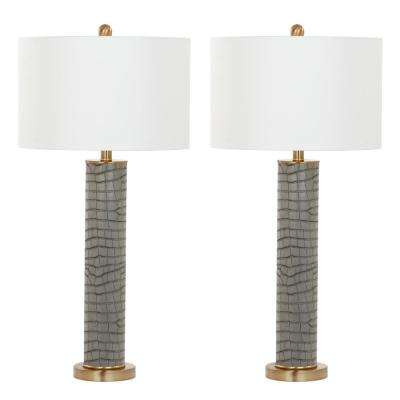 Ollie 31.5 in. Grey Faux Alligator Table Lamp (Set of 2)