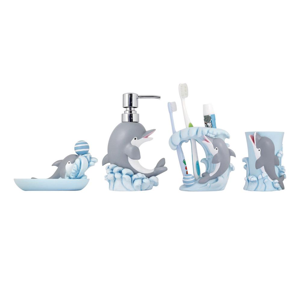 Modona Dolphin 4 Piece Kids Bathroom Accessories Set Bs Df A The