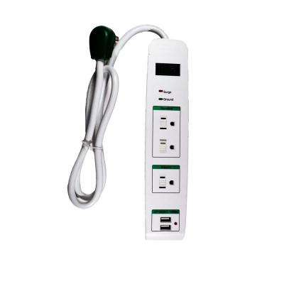 3 Outlets Surge Protector w/ 2 USB Ports